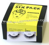 Bulk eyelashes six pack, natural false eyelashes, sold in 6 pack, 3 1cc mini eyelash glue included.
