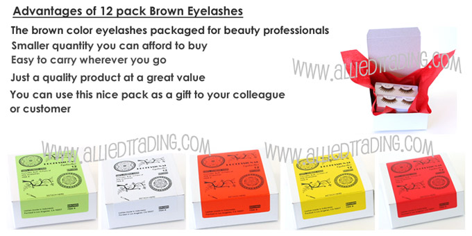 Industry proven brown eyelashes.  Great brown lashes for beauty shops and beauty professionals.