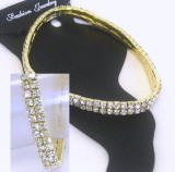 nk161 clear srystal in gold plated frame, stretch anklet