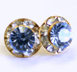 AR102 xilion chaton or rivoli stud earrings, 8mm, gold finished