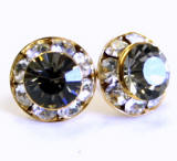 AR108 xilion chaton or rivoli stud earrings, 8mm, gold finished