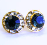 AR109 xilion chaton or rivoli stud earrings, 8mm, gold finished