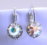 swarovski ab color lever back earrings, 8mm