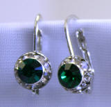 swarovski emerald lever back earrings, 8mm