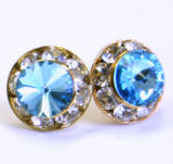 AR111 Xilion Chaton stud earrings, 8mm, gold finished