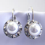 Lever back earrings, swarovski white pearls