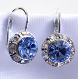 Light sapphire Lever back earrings, 11mm
