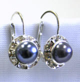 swarovski crystal pearl lever back earrings, 11mmm