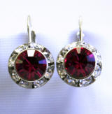 swarovski fuchsia lever back earrings, 11mm