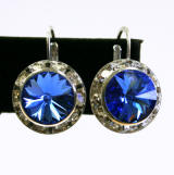 swarovski lever back earrings, 15mm silver