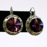 AR1209 swarovski rondelle lever back earrings, 15mm silver