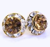 AR129 swarovski chaton stud earrings, gold finished
