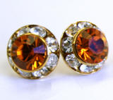 AR130 swarovski chaton stud earrings, 11mm, gold finished