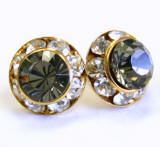 AR133 swarovski chaton stud earrings, 11mm, gold finished
