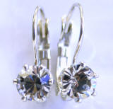 6 Prong Austrian Crystal Leverback Earrings