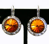 Swarovski Crystal Leverback Earrings, 20mm