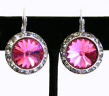 item # AR284 Swarovski Rose Leverback Earrings, 20mm