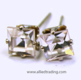 clear crystal square stud earrings, 4mm square silver, Allied Trading, Los Angeles
