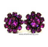 Fuchsia Swarovski Elements, Stud Earrings