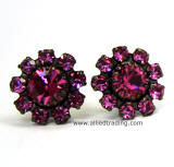 Rose Color Crystal Stud Earrings