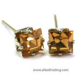 swarovski Light Colorado topaz square studs, 4mm square silver