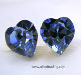 item # ar571 swarovski crystal heart stud earrings, 8mm x 9mm