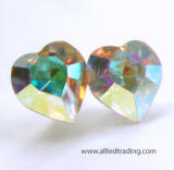 swarovski heart stud earrings, 8mm x 9mm
