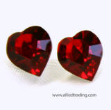 swarovski heart stud earrings, 8mm x 9mm, wholesaler Allied Trading