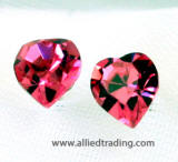 swarovski heart earrings, rose 6 X 7mm