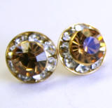 AR96 xilion chaton or rivoli stud earrings, 8mm, gold finished