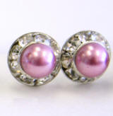item # ARP8 Faux pearl stud earrings with crystal channel, 8mm